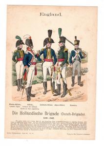 Original Grafik Knötel Uniformkunde England Holländische Brigade Uniform Dutch