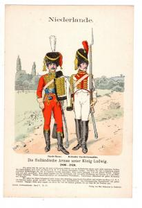 Original Grafik Knötel Uniformkunde Niederlande Holländische Armee König Ludwig