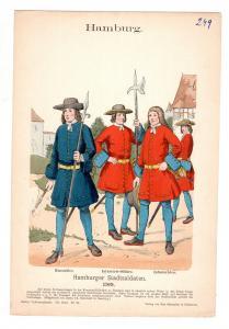 Original Grafik Knötel Uniformkunde Hamburg Stadtsoldaten 1709 Uniform #2