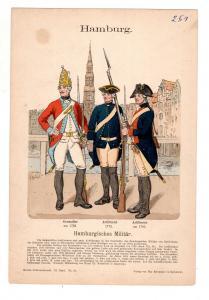 Original Grafik Knötel Uniformkunde Hamburg Hamburgisches Militär #2