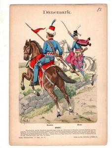 Original Grafik Knötel Uniformkunde Dänemark Husar - Offizier 1801