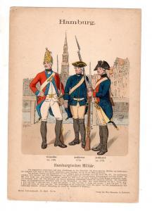 Original Grafik Knötel Uniformkunde Hamburg Hamburgisches Militär Uniform
