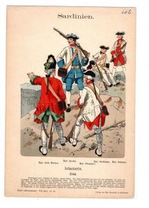 Original Grafik Knötel Uniformkunde Sardinien Infanterie Italien 1744