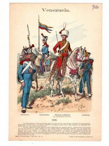 Original Grafik Knötel Uniformkunde Venezuela Uniform 1820 #2