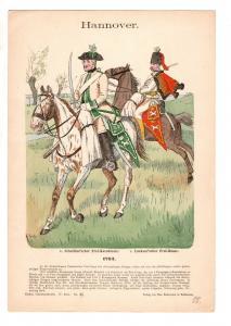 Original Grafik Knötel Uniformkunde Hannover Luckner´scher Frei Husar 1702