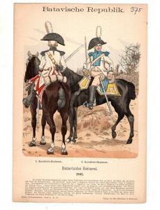 Original Grafik Knötel Uniformkunde Batavische Repulik Holland Reiterei Uniform