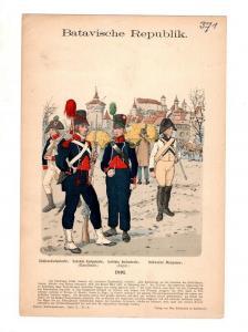 Original Grafik Knötel Uniformkunde Batavische Repulik Holland Infanterie 1801