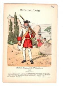 Original Grafik Knötel Uniformkunde Württemberg Infanterie Regiment 1719 #2