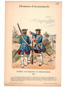 Original Grafik Knötel Uniformkunde Hessen Darmstadt Infanterie Schrautenbach