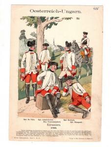 Original Grafik Knötel Uniformkunde Österreich-Ungarn Kürassiere 1762 Uniform