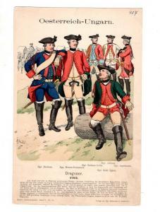 Original Grafik Knötel Uniformkunde Österreich-Ungarn Dragoner Uniform 1762