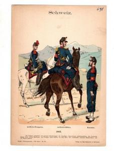 Original Grafik Knötel Uniformkunde Schweiz Artillerie Uniform 1862 #2