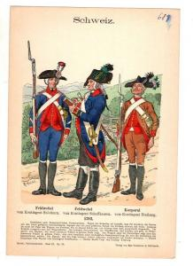 Original Grafik Knötel Uniformkunde Schweiz Feldwebel Korporal Uniform 1792 #3