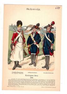 Original Grafik Knötel Uniformkunde Schweiz Kontingent Bern Uniform 1792 #2
