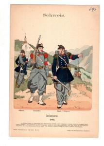 Original Grafik Knötel Uniformkunde Schweiz Infanterie 1862