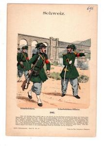 Original Grafik Knötel Uniformkunde Schweiz Schafschützen 1862