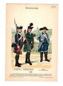 Original Grafik Knötel Uniformkunde Schweiz 1792 Scharfschützen Kapitän #2