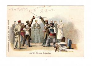 AK Studentika Auf die Mensur, fertig los ! Studenten Karte Lithographie 1899
