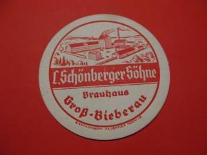 BD Alter Bierdeckel Brauerei Schönberger Groß Bieberau im Odenwald #2