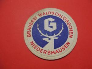 BD Alter Bierdeckel Brauerei Waldschlösschen Niedershausen Löhnberg Hessen Dick