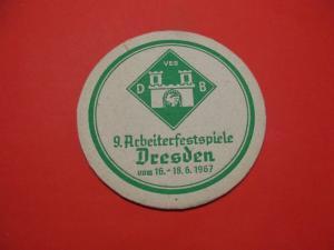 BD Alter Bierdeckel Brauerei Dresden 9.Arbeiter Festspiele 1967