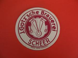 BD Alter Bierdeckel Götz´sche Brauerei Scheer / Donau - Sigmaringen