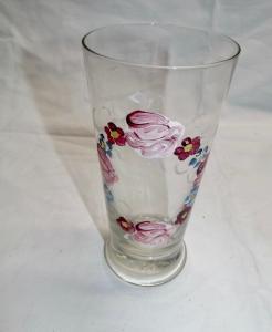 Antikes Glas handbemalte Blumen 5/20 L um 1920