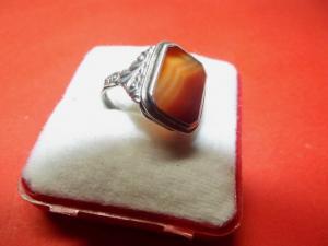 Art Deco 935er Silber Herren Ring mit Karneol verziert