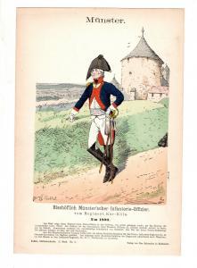Original Grafik Knötel Uniformkunde Münster Infanterie Offizier Uniform um 1800