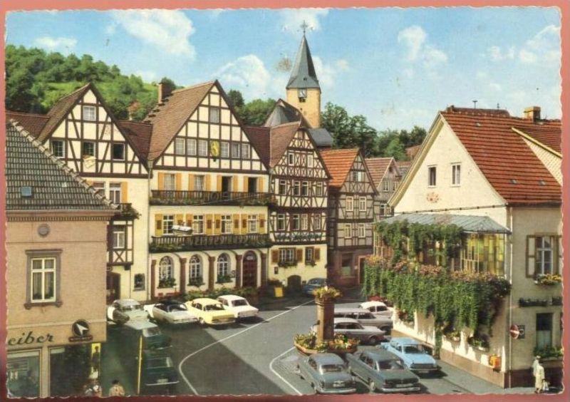 POSTKARTE BAD ORB HOTEL WEISSES ROSS Autos Mercedes SL Volkswagen Ford Auto Car Voitures Cars Versicherungsschild cpa