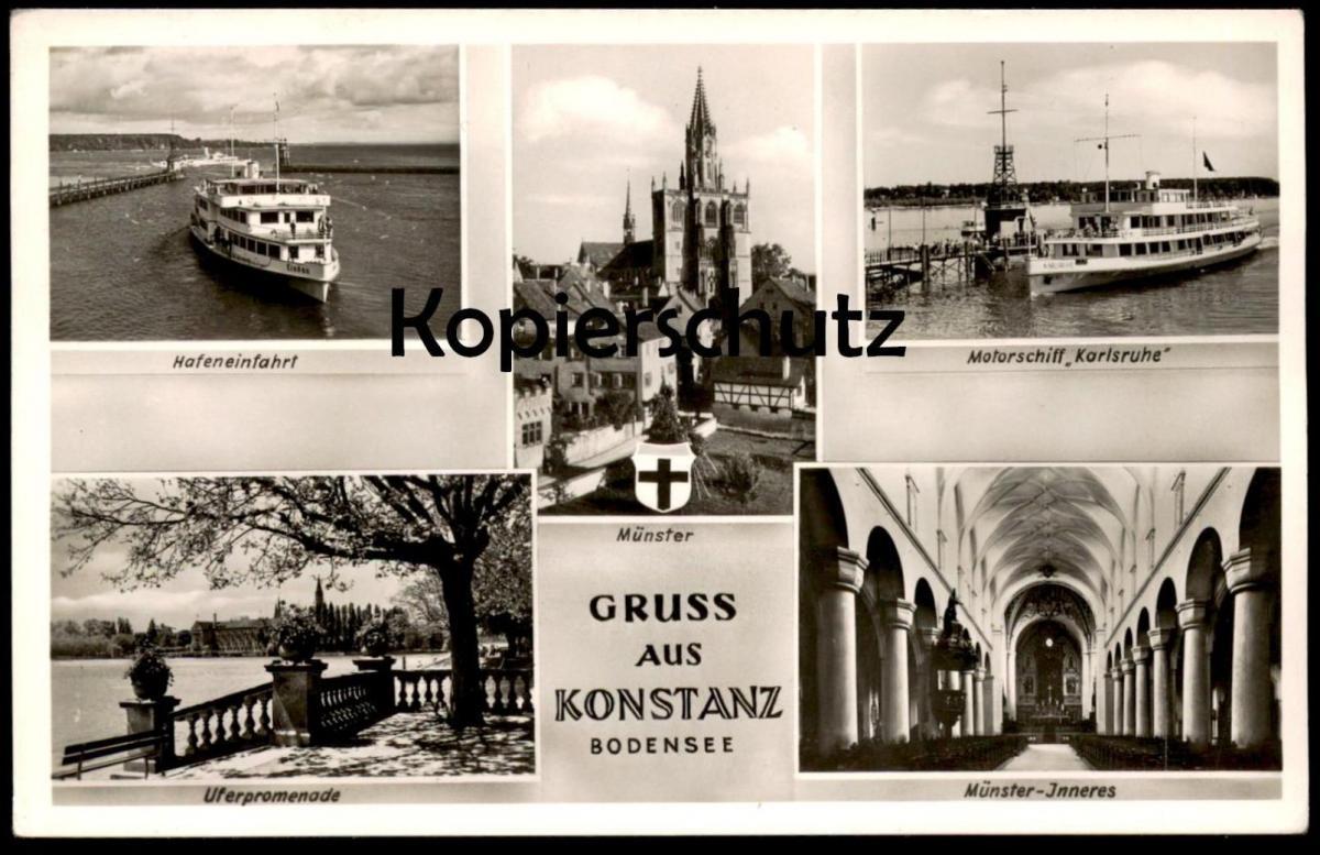 ÄLTERE POSTKARTE GRUSS AUS KONSTANZ MOTORSCHIFF MS KARLSRUHE Hafen ship bateau Ansichtskarte AK cpa postcard