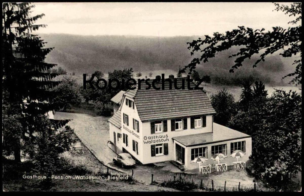 ÄLTERE POSTKARTE BIESFELD GASTHAUS PENSION WALDESRUH KÜRTEN Scheid Post Bechen Ruf Dürscheid Ansichtskarte cpa postcard