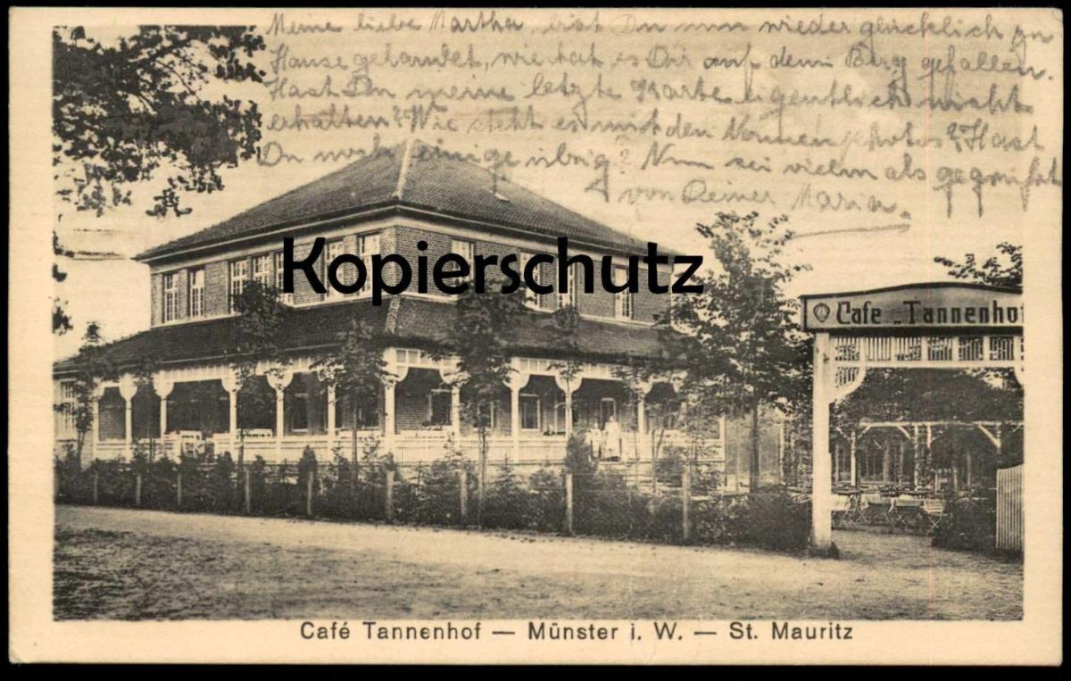 ALTE POSTKARTE MÜNSTER CAFÉ TANNENHOF ST. MAURITZ 1917 Ansichtskarte AK cpa postcard