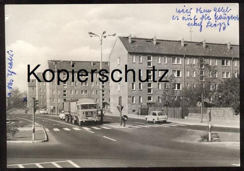 ÄLTERE POSTKARTE BORNA LKW IFA W50 truck pickup camion Trabant Auto Autos old car cars postcard cpa AK Ansichtskarte