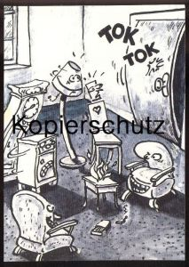 EDGAR WERBEPOSTKARTE CARTOON MARTIN HERBERS UHR STUHL #910 Reklame advertising postcard Postkarte chair clock lamp