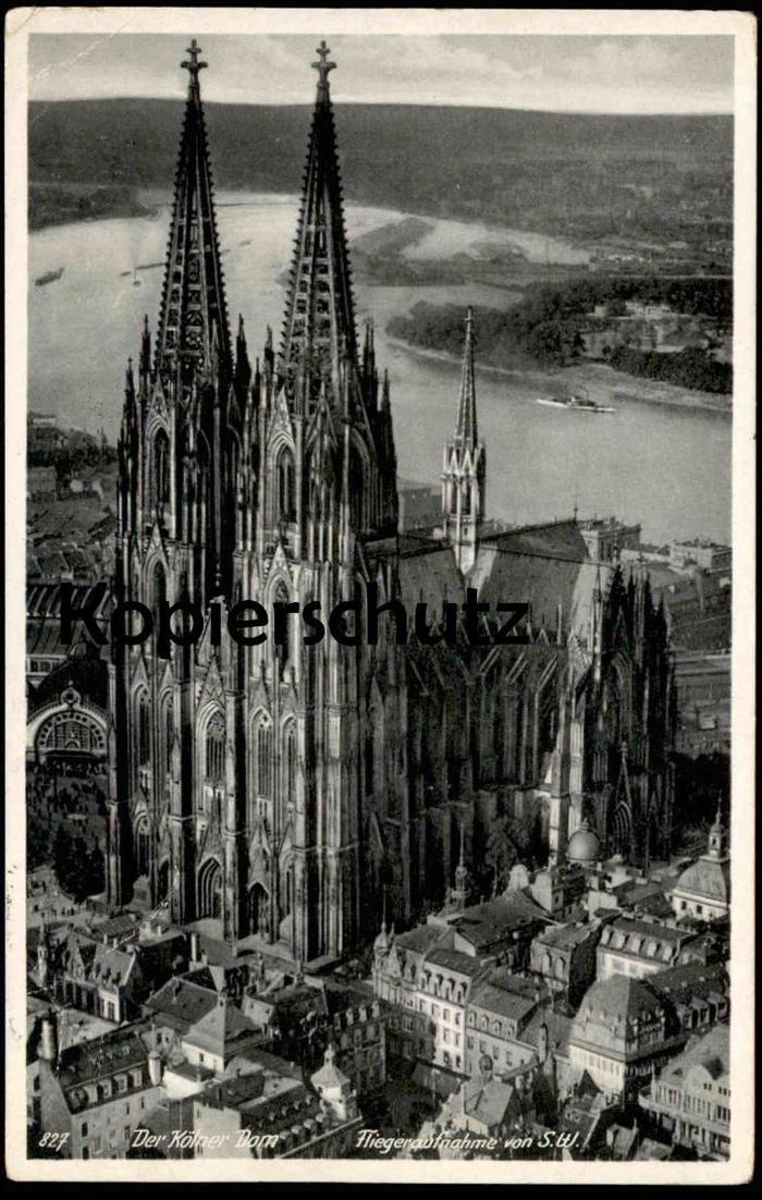 ALTE POSTKARTE DER KÖLNER DOM FLIEGERAUFNAHME VON SÜDWEST Luftbild Köln Cöln Hoursch & Bechstedt  postcard Ansichtskarte 0