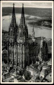 ALTE POSTKARTE DER KÖLNER DOM FLIEGERAUFNAHME VON SÜDWEST Luftbild Köln Cöln Hoursch & Bechstedt  postcard Ansichtskarte