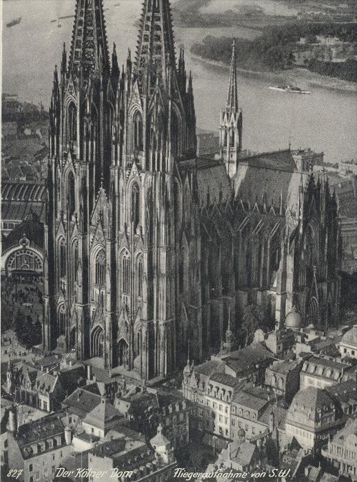 ALTE POSTKARTE DER KÖLNER DOM FLIEGERAUFNAHME VON SÜDWEST Luftbild Köln Cöln Hoursch & Bechstedt  postcard Ansichtskarte 1