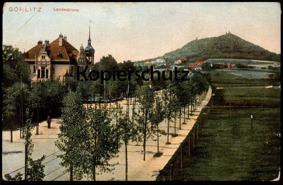 ALTE POSTKARTE GÖRLITZ LANDESKRONE Allee alley Goerlitz Zgorzelec Zhorjelc cpa postcard AK Ansichtskarte