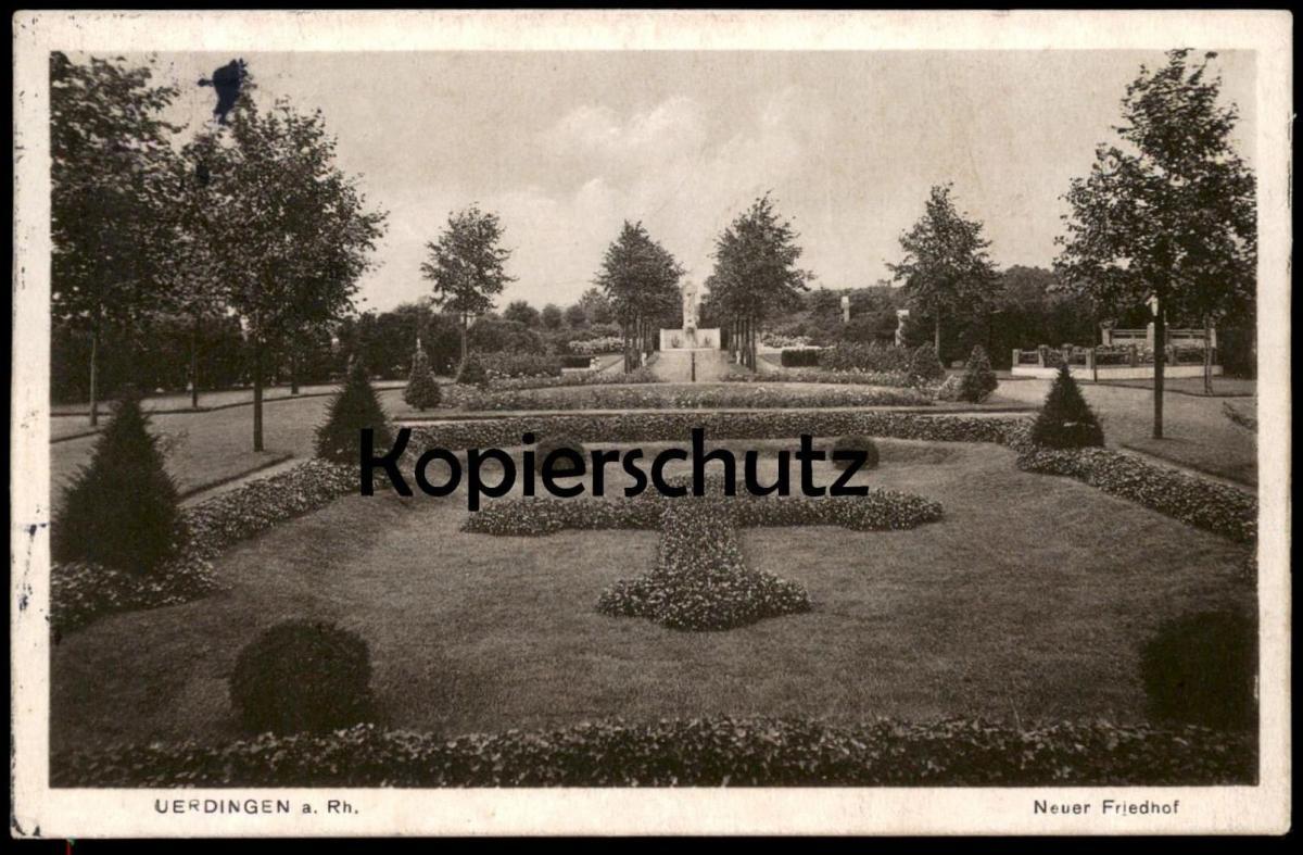 ALTE POSTKARTE UERDINGEN NEUER FRIEDHOF KREFELD Crefeld cemetery churchyard cimetière Ansichtskarte AK cpa postcard