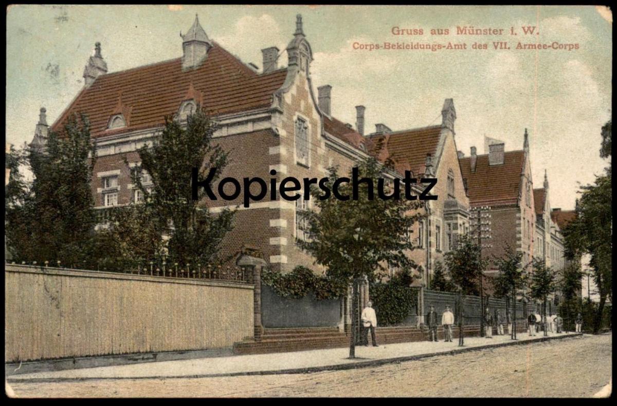ALTE POSTKARTE GRUSS AUS MÜNSTER i. W. CORPS-BEKLEIDUNGS-AMT DES VII. ARMEE-CORPS Bekleidungsamt Ansichtskarte AK cpa