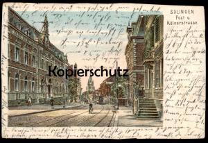 ALTE LITHO-POSTKARTE SOLINGEN POSTSTRASSE & KÖLNERSTRASSE 1903 Strassenbahn tram tramway cpa postcard AK Ansichtskarte