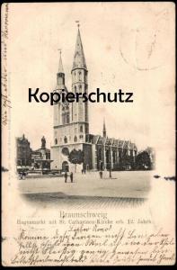 ALTE POSTKARTE BRAUNSCHWEIG HAGENMARKT 1906 MIT ST: CATHARINEN-KIRCHE ERB. 12. JAHRH. church cpa postcard Ansichtskarte