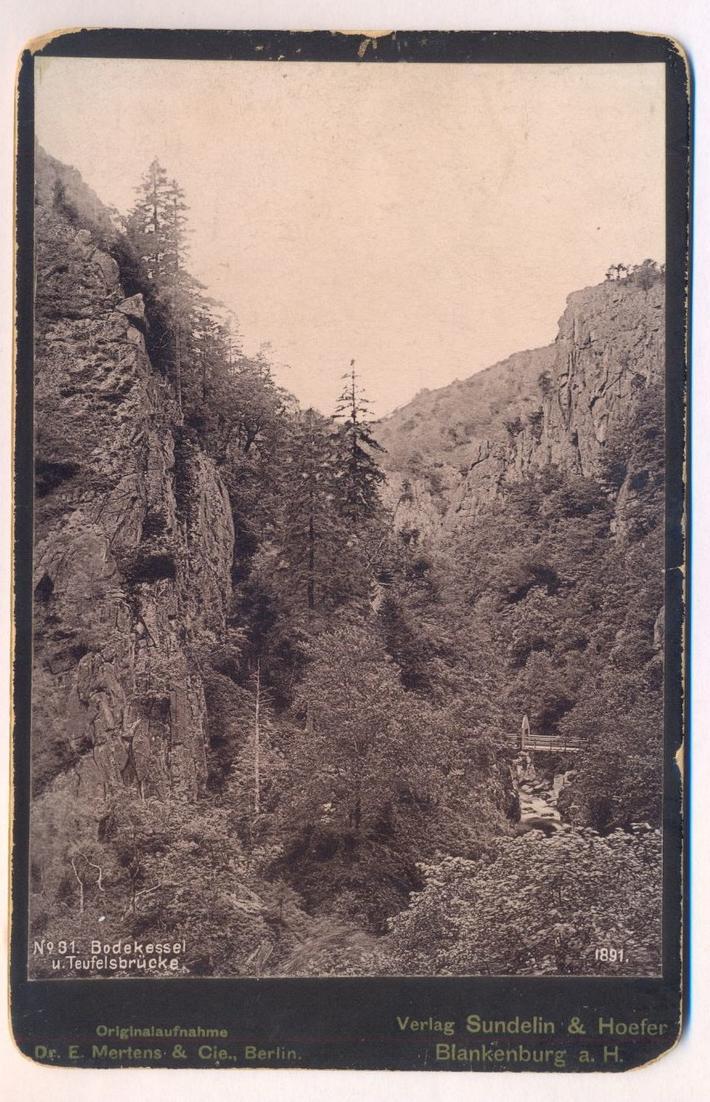 ALTES KABINETTFOTO CDV PHOTO BODEKESSEL UND TEUFELSBRÜCKE 1891 Photochromie Photoplatte Dr. E. Mertens, Berlin Harz