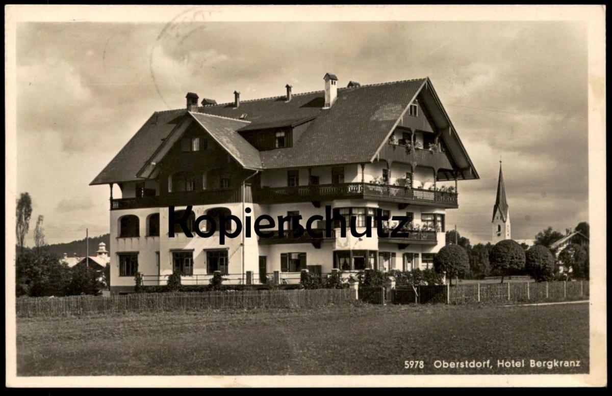 ALTE POSTKARTE OBERSTDORF ALLGÄU HOTEL BERGKRANZ mit Maschinenwerbestempel Skiflugwoche 1964 Bayern Ansichtskarte AK cpa