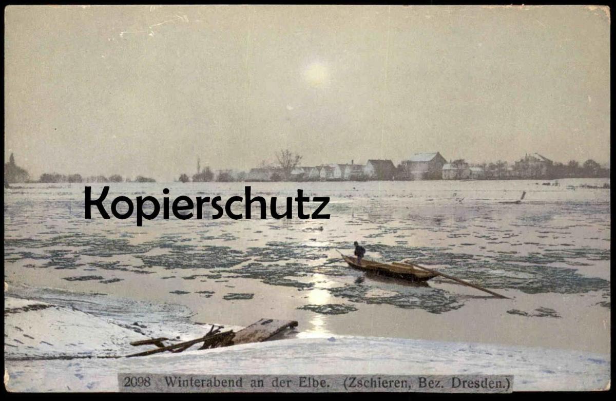 ALTE POSTKARTE ZSCHIEREN BEZIRK DRESDEN WINTERABEND AN DER ELBE Sachsen Kleinzschachwitz Leuben Winter Schnee snow hiver