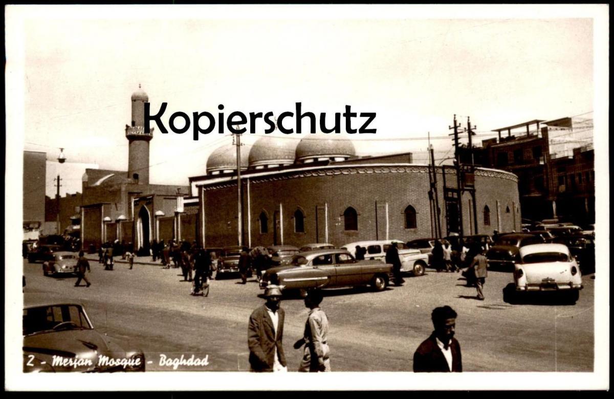 ALTE POSTKARTE BAGHDAD MERJAN MOSQUE Moschee mosquée Bagdad Irak Iraq Autos Auto cars car cpa postcard AK Ansichtskarte