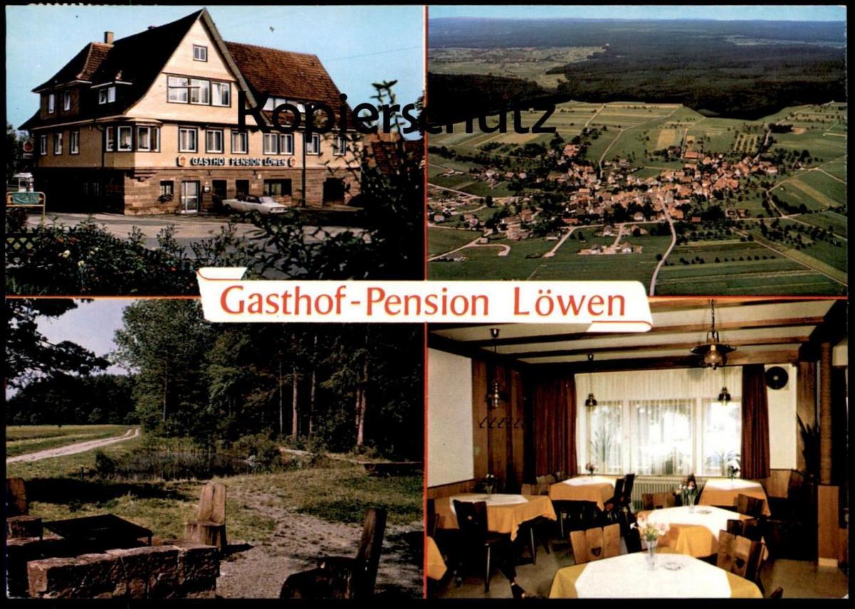 ÄLTERE POSTKARTE WILDBERG GASTHOF PENSION LÖWEN MIT OPEL REKORD SCHÖNBRONN KREIS CALW AK Ansichtskarte cpa postcard