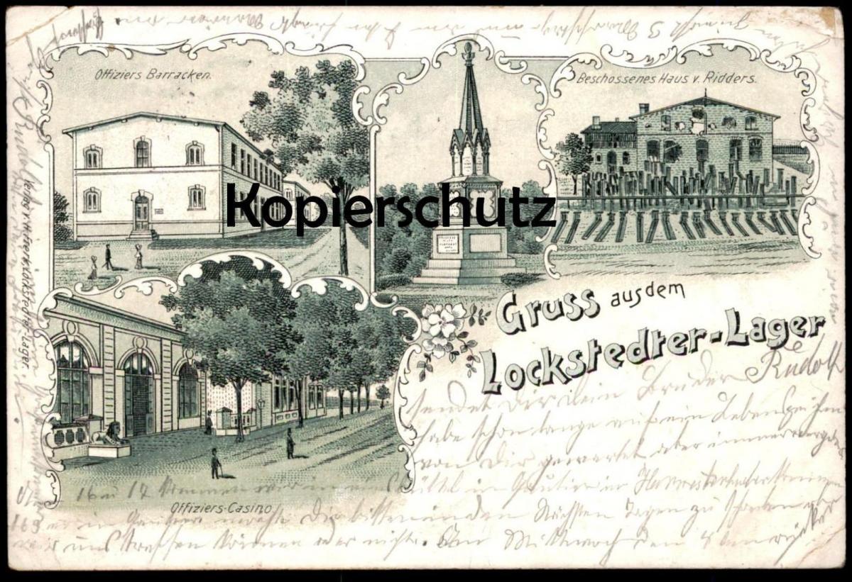 ALTE LITHO POSTKARTE GRUSS AUS DEM LOCKSTEDTER LAGER 1901 BESCHOSSENES HAUS RIDDERS BARRACKEN Lockstedt Hohenlockstedt