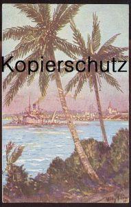 ALTE KÜNSTLER-POSTKARTE BLICK AUF DARESSALAM SCHIFF DEUTSCH-OSTAFRIKA W. Stöwer Kolonialkriegerdank Stempel Wesel P.K.